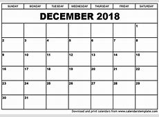 December 2018 Calendar Template 2018 calendar with holidays