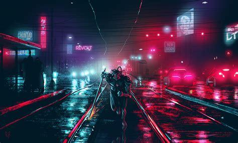 dark cyberpunk cityscape cyberpunk night dark lights