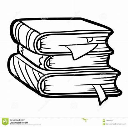 Books Stack Coloring Outline Children