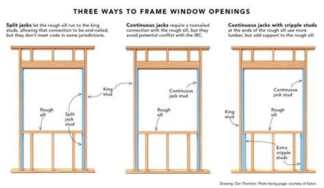 split jacks  framing  window opening fine homebuilding