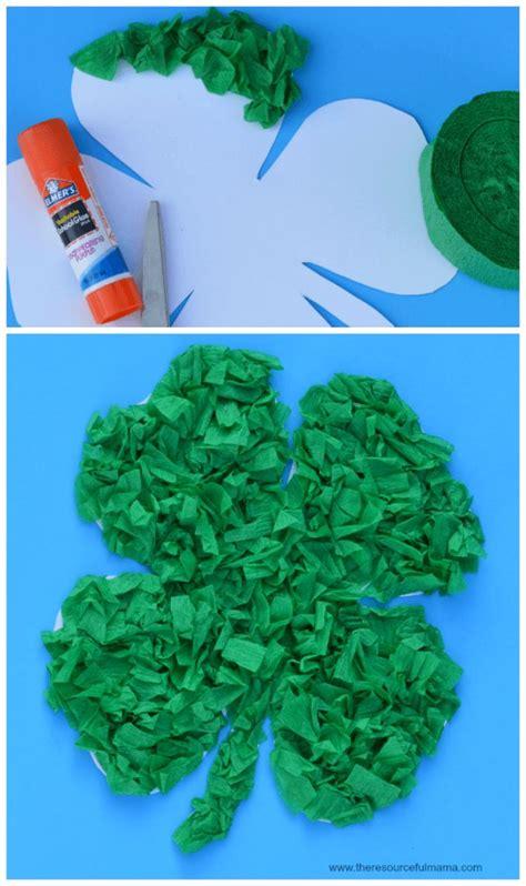 crepe paper st patricks day kid craft  resourceful