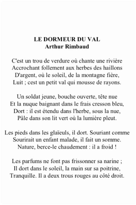 Le Dormeur Du Val Paroles by Le Dormeur Du Val Rimbaud Texte Impressionnant Stock
