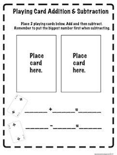 playing card addition subtraction print