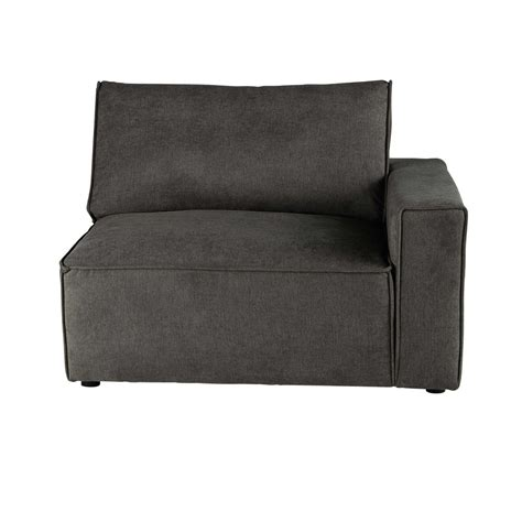 accoudoir de canapé accoudoir droit de canapé en tissu taupe grisé malo