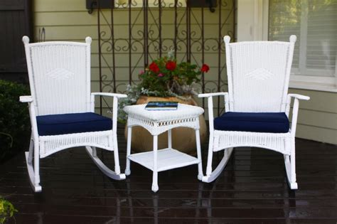 3 pc outdoor patio coastal white resin wicker classic
