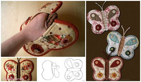 quilted butterfly potholder sew  patternpaid