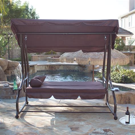 patio swing bed with canopy outdoor swing bed patio adjustable canopy deck porch seat chair w 2 pillow ebay