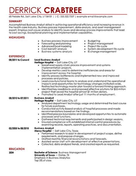 Business Resume Format by Resume Exles Resume Builder Livecareer Other