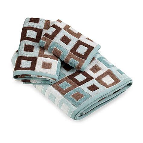 city squares blue hand towel bed bath