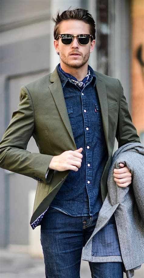 Picture Of jeans and a denim shirt an olive green blazer for a relaxed day