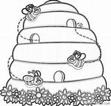 Hive Bee Coloring Coloring4free Honey Bees Preschool Related sketch template