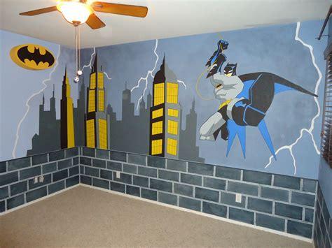 batman room makeover started  blue walls brick  painted   bottom border