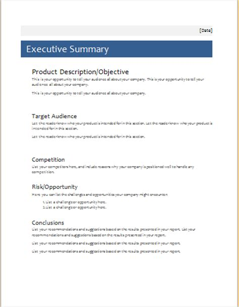 executive summary template  ms word document hub