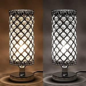 Tomshine, Table, Lamp, Modern, Nightstand, Lights, For, Bedroom, Crystal, Silver, Desk, Lam, 705353680786