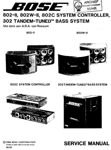bose 802 ii 802w ii 802c system controller 302 tandem tuned bass system 1984 sm service manual