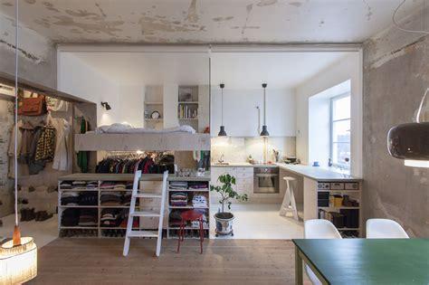 inexpensive studio apartment renovation     kitchen  sleeping loft idesignarch