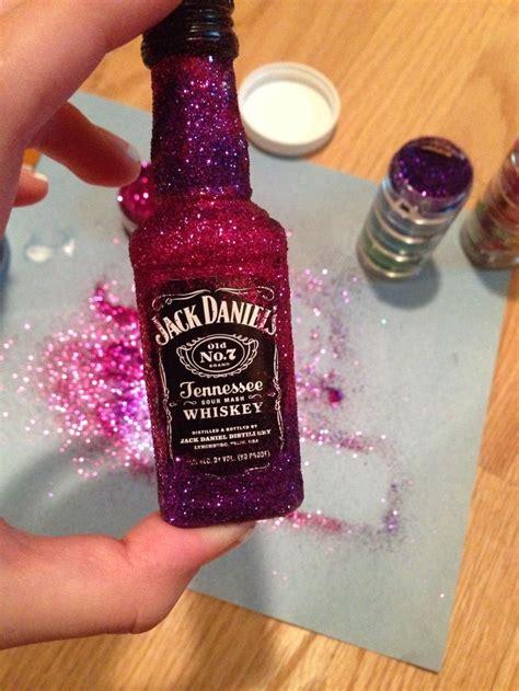 glitter alcohol bottles diy pinterest crafting