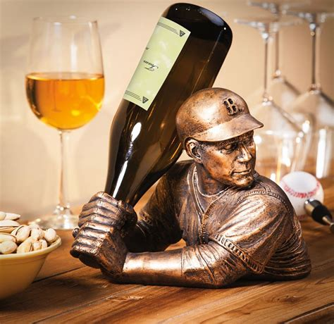 baseball player wine holder