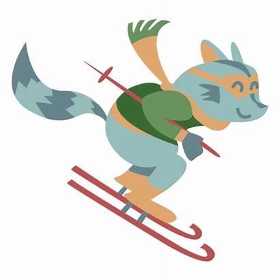 Animal Winter Transparent Raccoon Skiing Svg Character