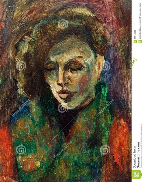 portrait sur toile a partir d une photo peinture 224 l huile originale de portrait d une femme sur la toile illustration stock