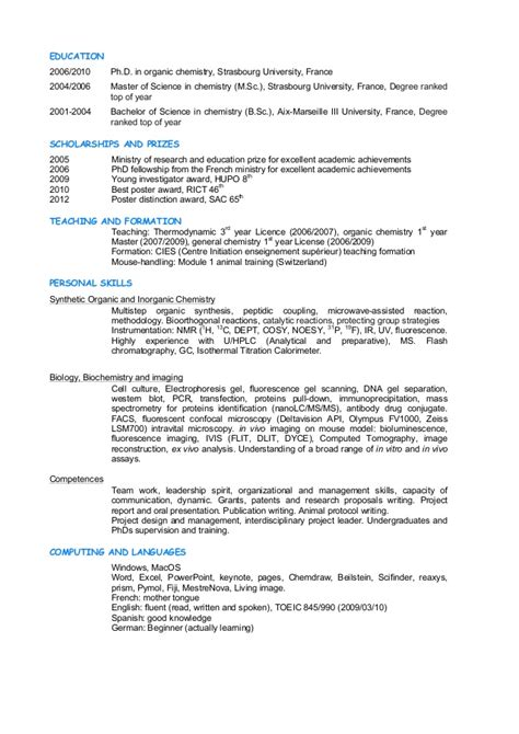 Synthetic Organic Chemistry Resume by Resume Budin Ghyslain