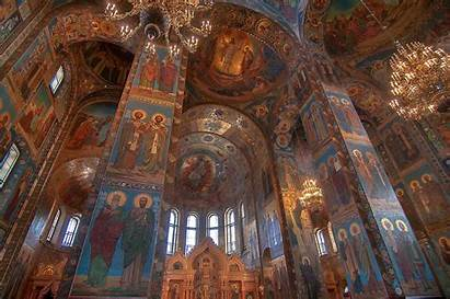 Church Mosaic Walls Russia Savior Blood Petersburg