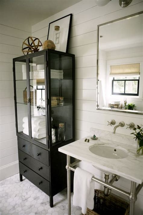 hic cottage bathroom features polished nickel mirror
