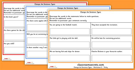 change the sentence types year 2 spag ks2 sats test