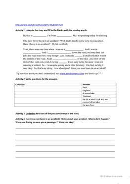 17 Free Esl Accidents Worksheets