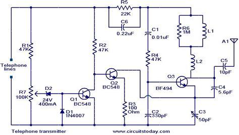 Telephone Transmitter Electronic Circuits Diagrams