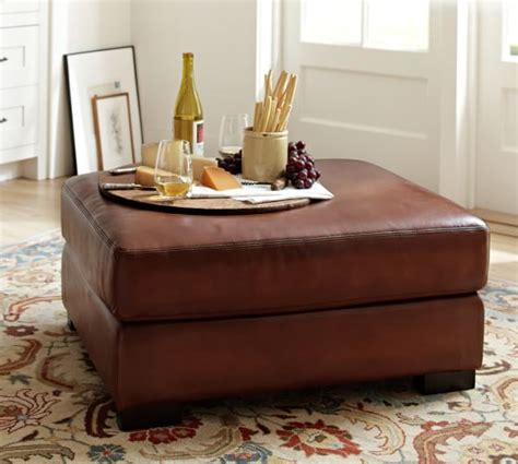 pottery barn leather coffee table turner leather ottoman pottery barn
