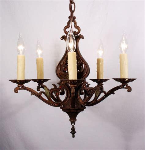 Cast Iron Chandelier by Graceful Antique Five Light Nouveau Chandelier Cast