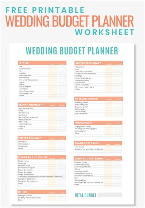 free printable wedding budget planner worksheet