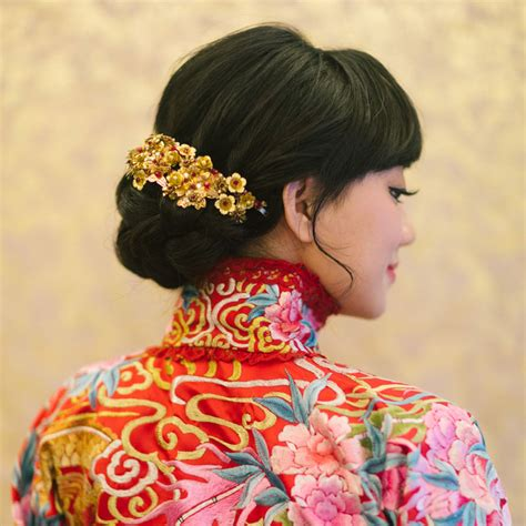 elegant hairstyles   qun gua hong kong wedding
