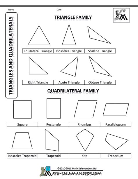 Coloring Quadrilaterals by Shapes For Triangles Quadrilaterals Usa Bw Gif 790