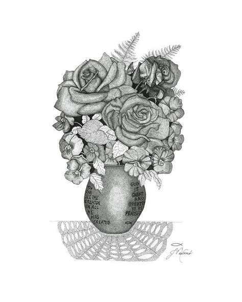 rose bouquet drawing  judy cheryl newcomb