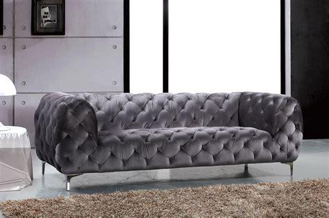 Contemporary Grey Sofa by Jamari Contemporary Grey Button Tufted Velvet Sofa