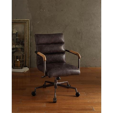 acme furniture harith top grain leather office chair in