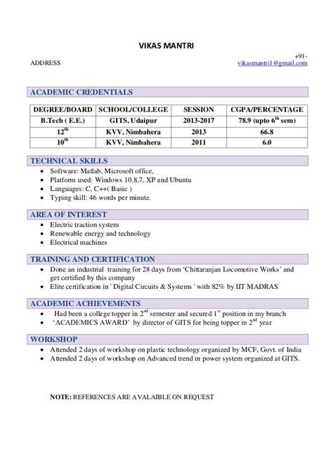 resume template  freshers