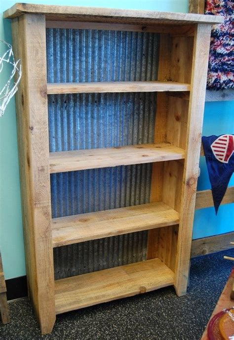 solid rustic style shelving unit upcycled  reclaimed wood  backed  corrugated roofing