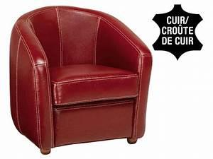 Fauteuil Cuir PONZA Coloris Rouge Promo Fauteuil