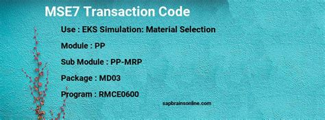 mse sap tcode  eks simulation material selection