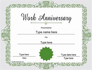 Special certificates happy work anniversary certificatestreetcom for Work anniversary certificate template