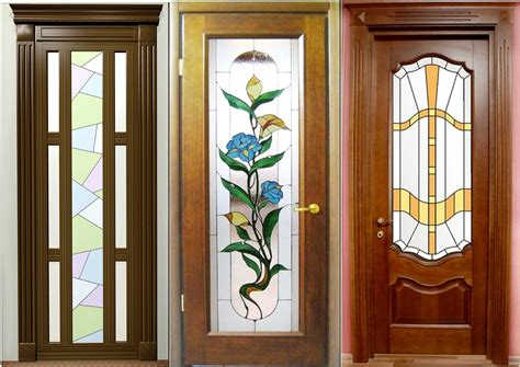 Wooden Doors : Modern Wooden Interior Doors With Stained Glass