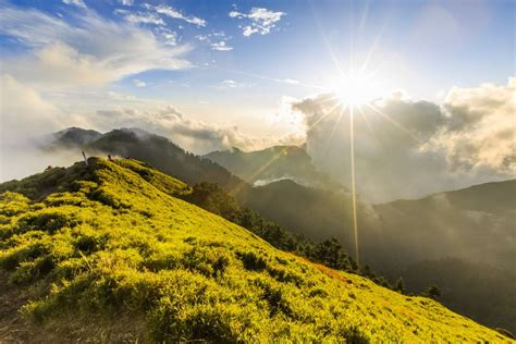 sunny hills greenery mountains people wallpaper