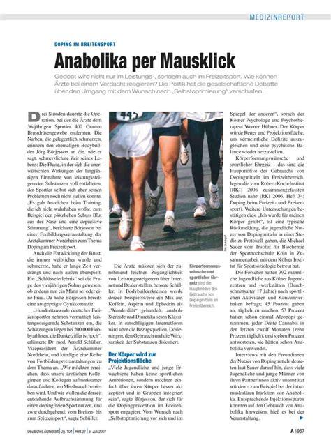 Daemmloesungen Per Mausklick by Doping Im Breitensport Anabolika Per Mausklick
