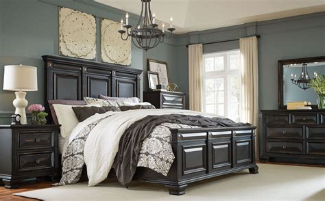 passages vintage black panel bedroom set  standard