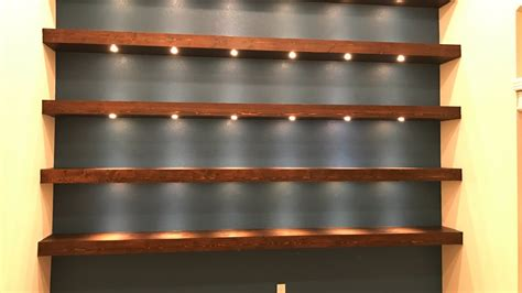 wall to wall bookcases build wall to wall shelves with recessed lights youtube