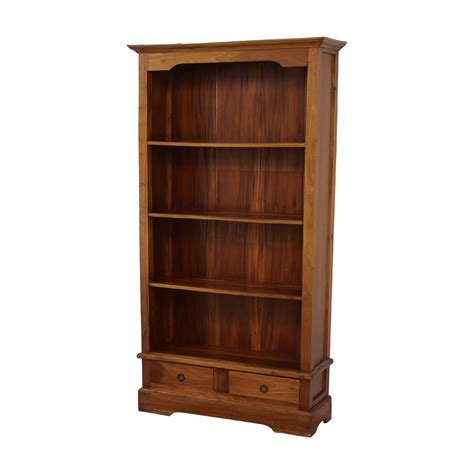 Second Bookcase by 48 Wood Bookcase With Two Drawers Storage