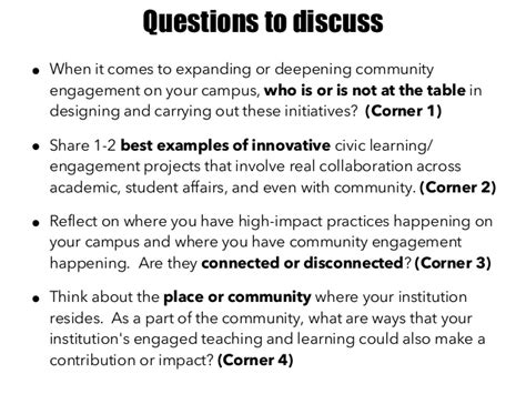 Questions About Initiative by Deepening Community Engagement In Higher Education Bonner